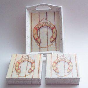 Trinket Tray & Boxes 3 Pc Set Distressed Finish